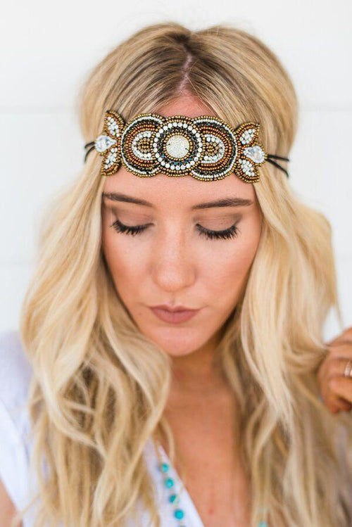 Shimmering Gypsy Beaded Headband