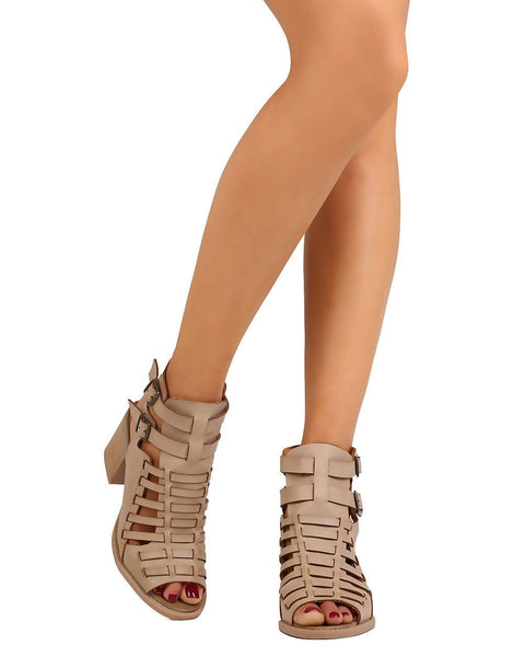 Open toe chunky heel in taupe cute boho chic shoes