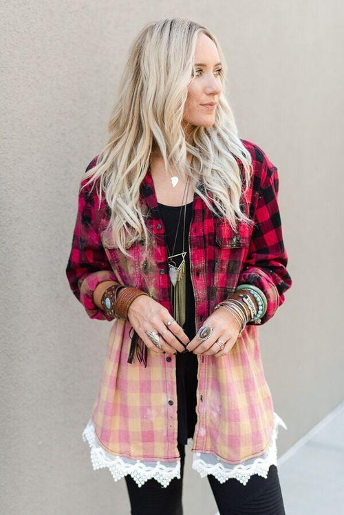 Vintage Bleached Plaid Flannel With Lace