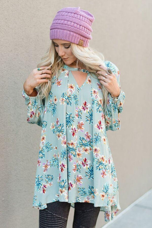 Floral Printed Keyhole Swing Tunic Top