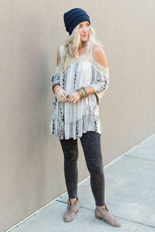 Tie Dye Cold Shoulder Tunic Top