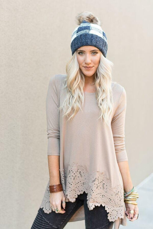 Lace Trim High Low Tunic Top