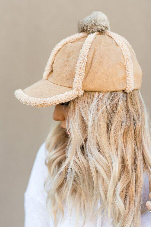 Shearling Trimmed Winter Hat