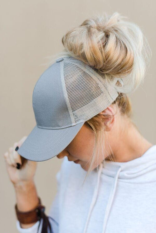 Messy Bun Baseball Hat - Gray Mesh