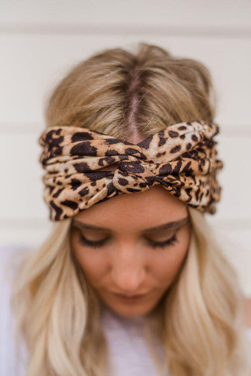 Sparrow Leopard Print Wide Headwrap
