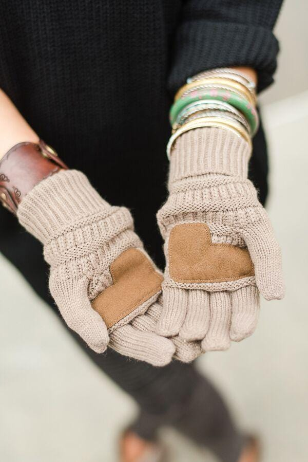 Knitted Texting Gloves - Taupe