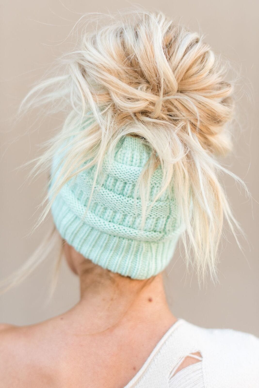 Messy Bun Knitted Beanie Hat - Mint