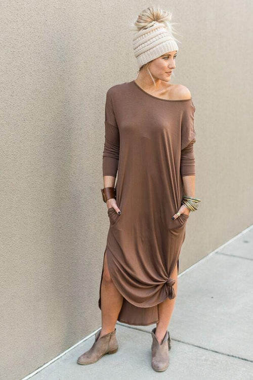 Must Have Long-Sleeved Maxi Dress - Mocha