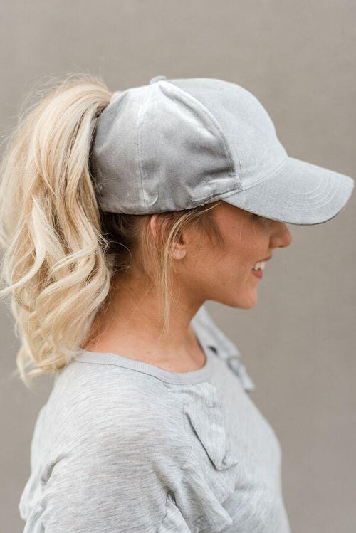 Messy Bun Baseball Cap - Light Gray Velvet