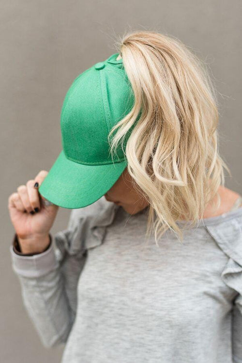 Messy Bun Baseball Cap - Green Chambray