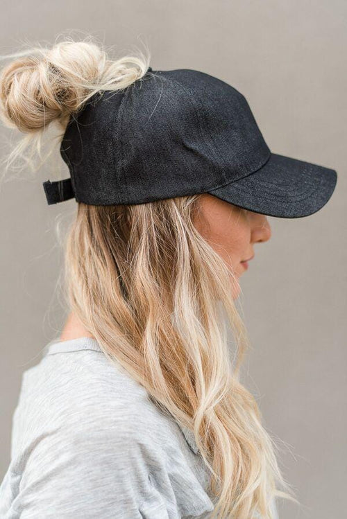 Messy Bun Baseball Cap - Black Chambray