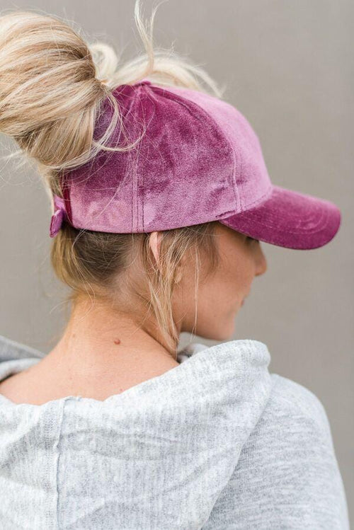 Messy Bun Baseball Cap - Dark Rose Velvet
