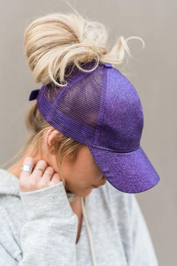 Messy Bun Baseball Cap - Purple Glitter
