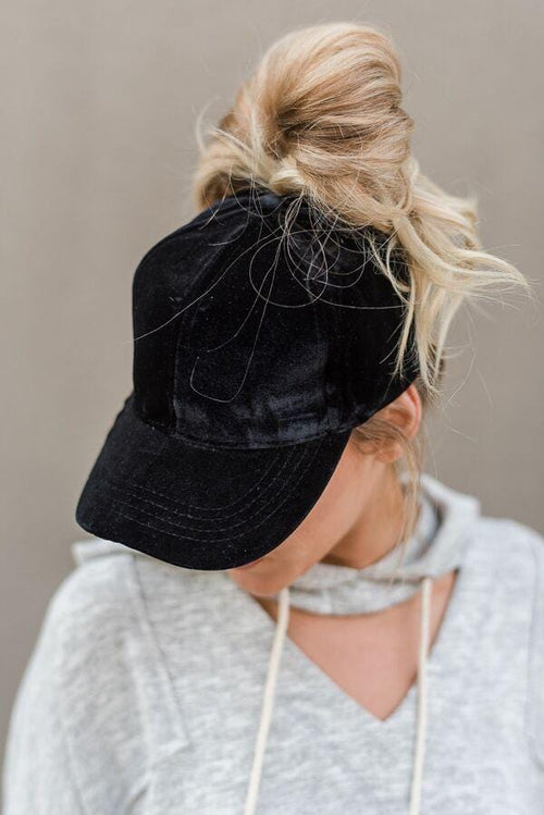Messy Bun Baseball Cap - Black Velvet