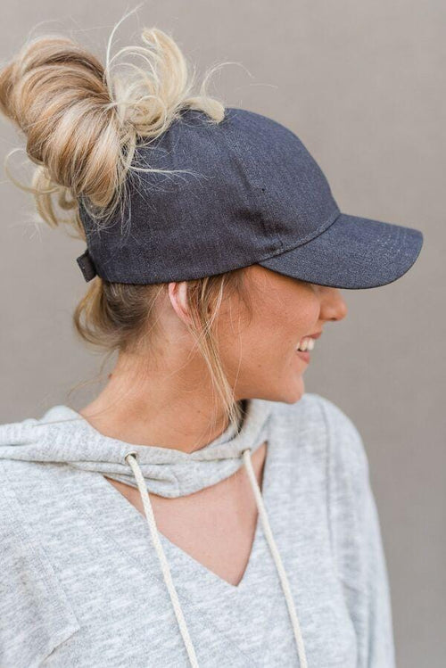 Messy Bun Baseball Cap - Gray Chambray
