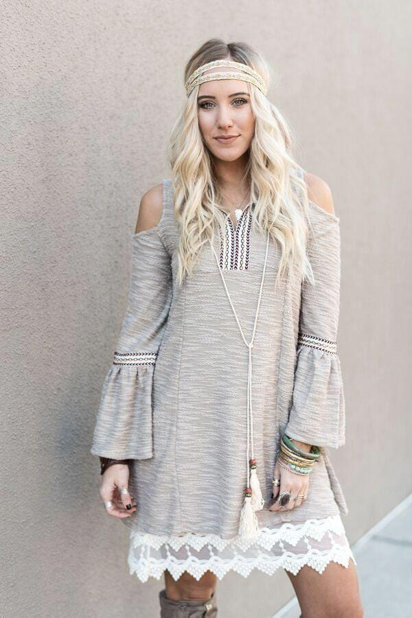 Tribal Peasant Tie Front Dress