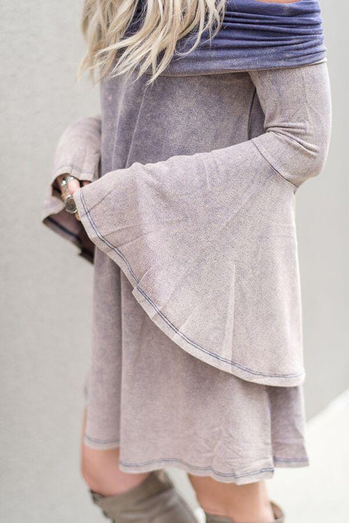 Ombre Off-The-Shoulder Sweater Dress