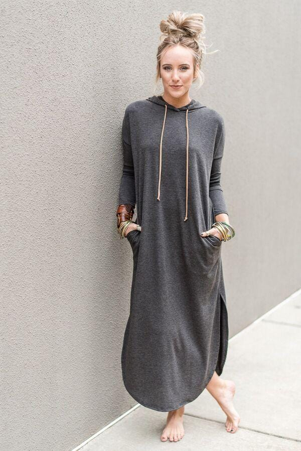 Long Sleeve Hooded Maxi Dress - Charcoal