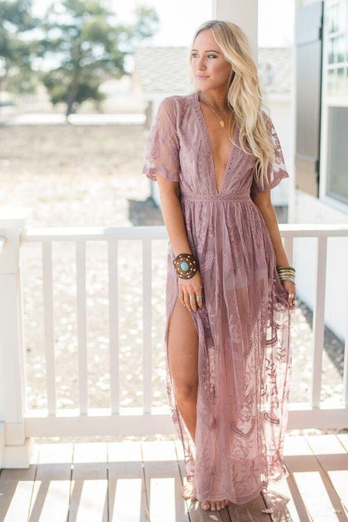 Dusty Blue Lace Maxi Romper