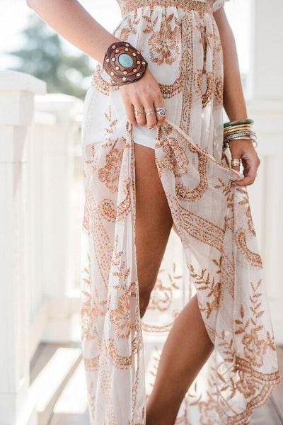 Flowing Floral Boho Tunic Dress