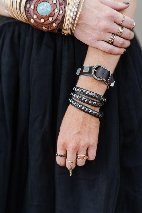 Studded Leather Buckle Bracelet