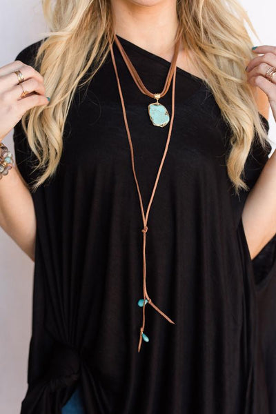 Layers of Leather Turquoise Necklace