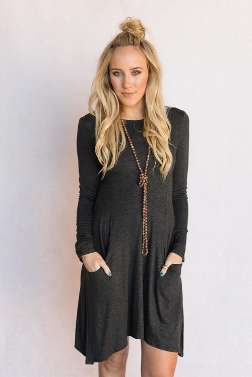 the Robin Pocket Dress In Charcoal