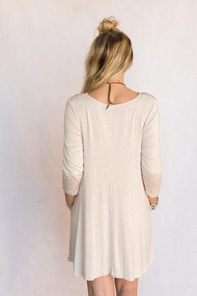The Robin Pocket Swing Dress in Oatmeal