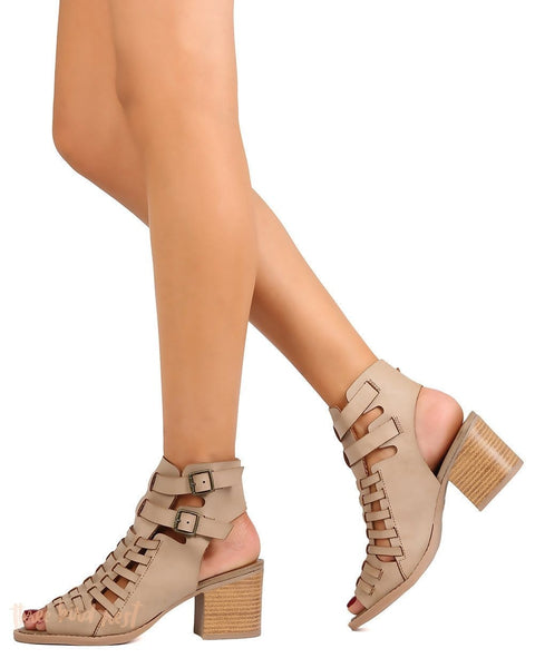 Open Toe Chunky Bootie in Taupe