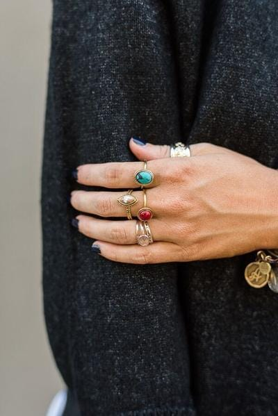 Marbled Stone Rings Set - Gold