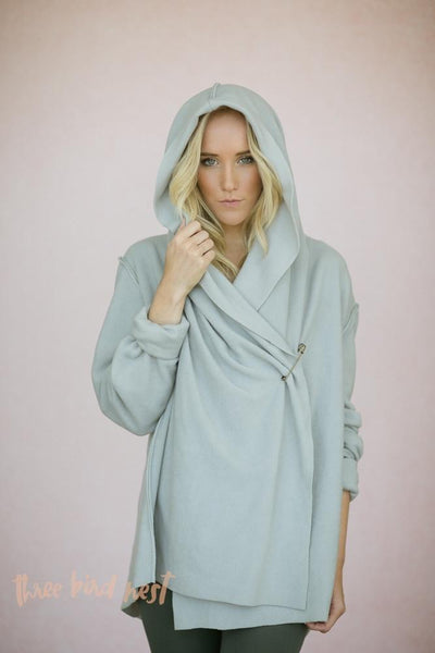 Oversized Fleece Yoga Wrap Hoodie Jacket