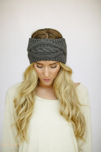 Gray Cable Knitted Headband-knitted headband-Affordable Online Boutique | Cute + Trendy Women's Clothes - 2