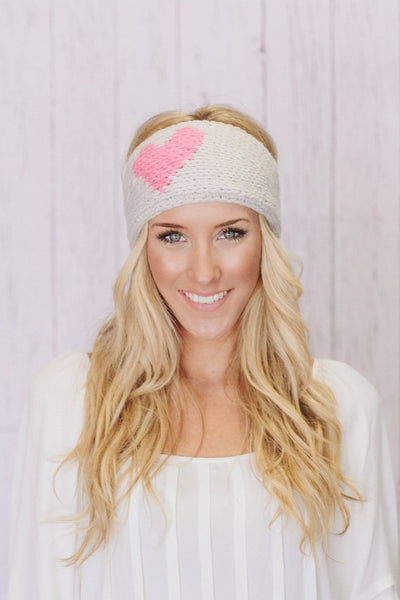 Knitted Heart Headband in Pink & Taupe