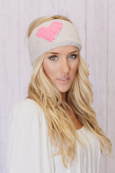Image of Knitted Heart Headband in Pink & Taupe Three Bird Nest