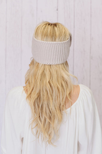 Knitted Bow Headband in Taupe Back Image