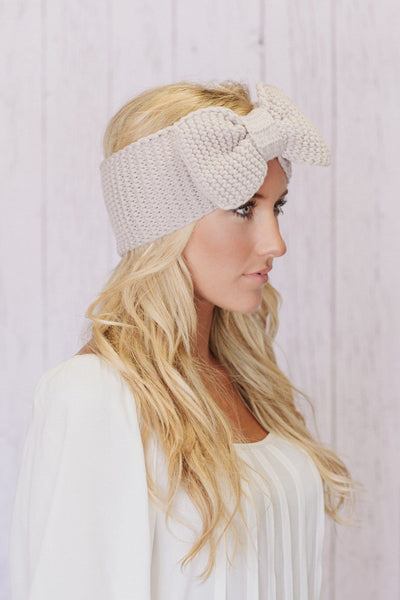 Image of Knitted Bow Headband in Taupe by Three Bird Nest
