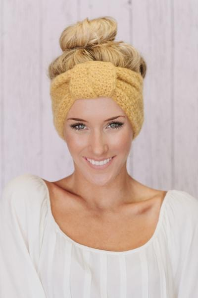 Knitted Turban Headband with Knot In Mustard