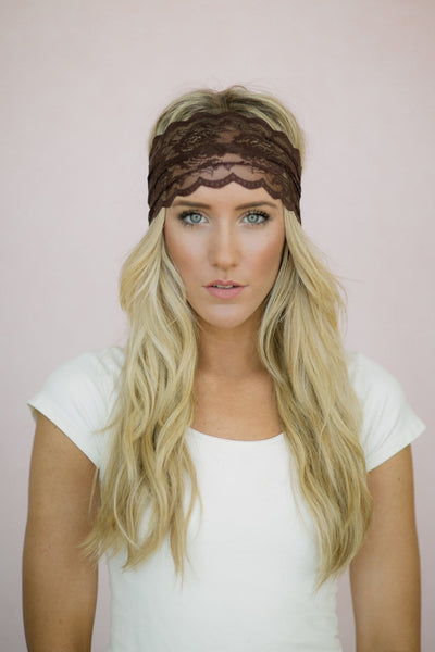 Wide Mocha Lace Headband