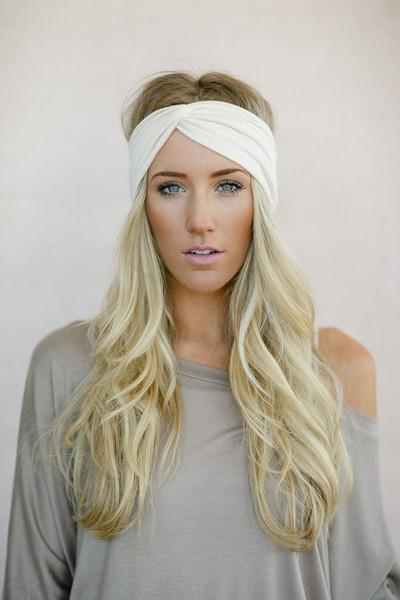 Ivory Turban Headbands from Three Bird Nest - Twist Hair Accessories on Model