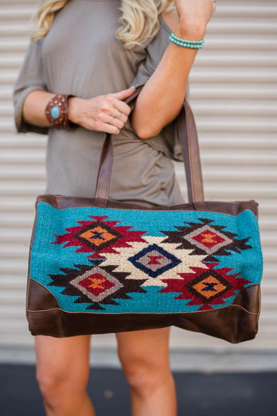 Patterned Southwestern Oversized Handbag in Aqua Boho Bag