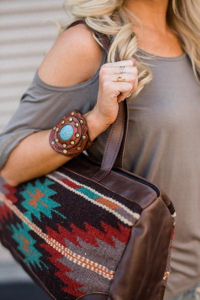 Brown leather Patterned Southwestern Oversized Handbag