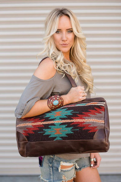 Mexican wool blanket Patterned Southwestern Oversized Handbag