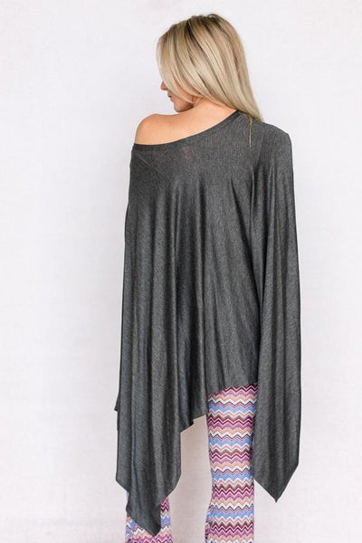 Knit Trapeze Top In Gray