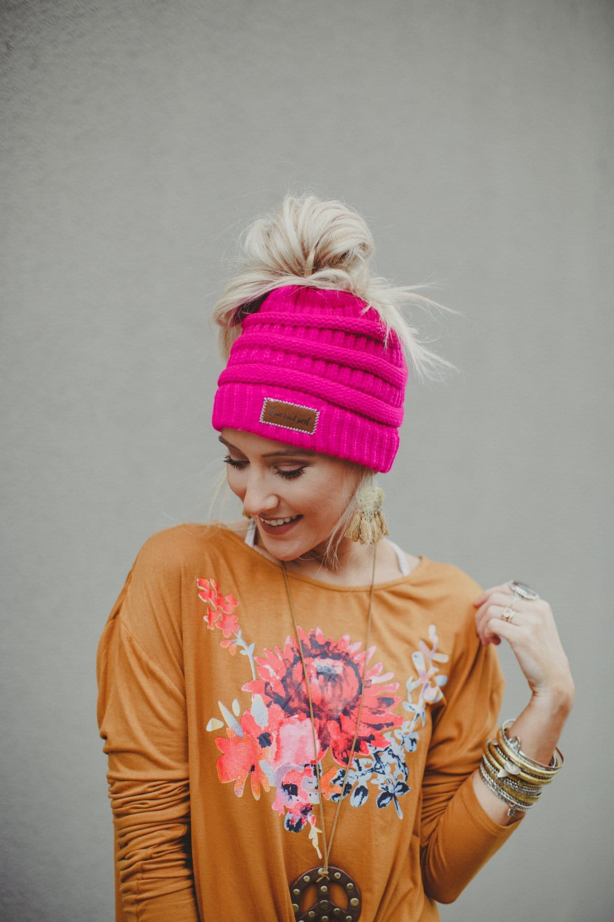 Messy Bun Knitted Beanie Hat - Hot Pink