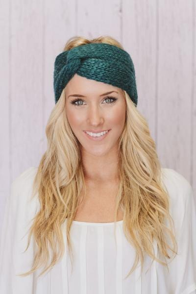 Knitted Twist Headband In Teal