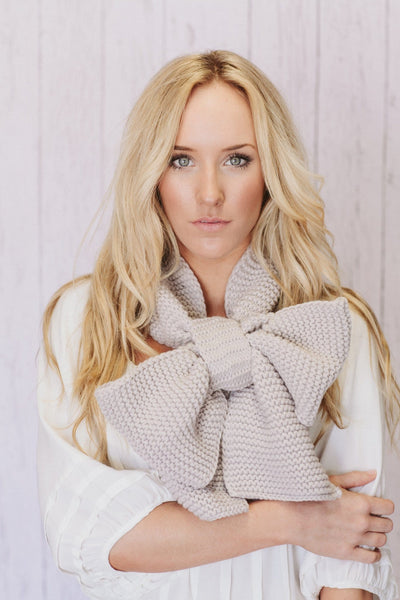 Cute Knitted Scarf - Oversized Knitted Bow Scarf in Latte