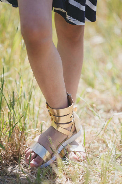 Gleaming Gold Little Girls Gladiator Sandals