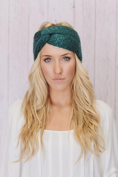 Chunky Knitted Headbands in Teal Turbands