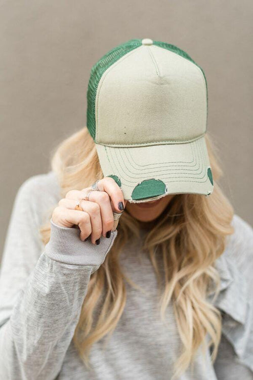Vintage Distressed Baseball Hat - Green