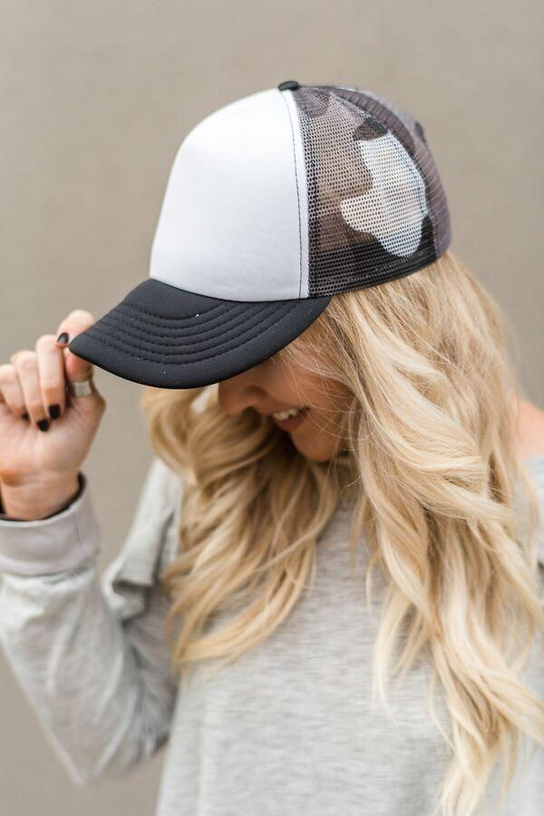 Gray Camo Mesh Trucker Hat
